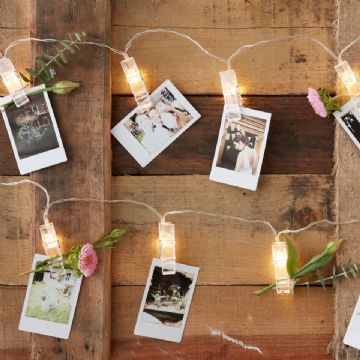 Rustic Country Wedding Photo Peg Lights